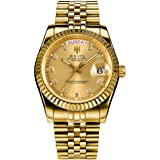 Men's Luxury Golden Stainless Steel Automatic Watch Day Date Luminous Waterproof Wrist Watches (Gold)