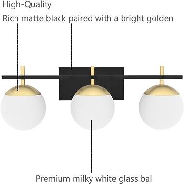 Ralbay Mid Century Modern Bathroom Vanity Lights 3-Light Milky Glass Modern Bathroom Vanity Lights Over Mirror, Black/Golden