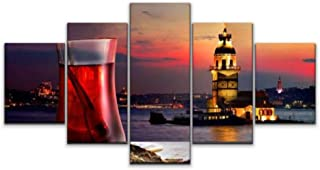 Skipvelo 5 Panels Wall Canvas Prints Pictures, Turkish Tea Maiden Tower istanbuls and Pictures Wall Paintings Wall Decor Stretched and Framed Ready to Hang