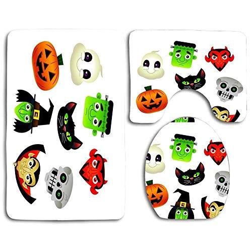 Badematten-Sets Halloween Frankenstein Devil Schwarzes Katzenskelett Jack O Laterne Hexe Ghost Contour Teppich U-förmiger Toilettendeckeldeckel, rutschfest, maschinenwaschbar, 3-teiliges Teppichset Le