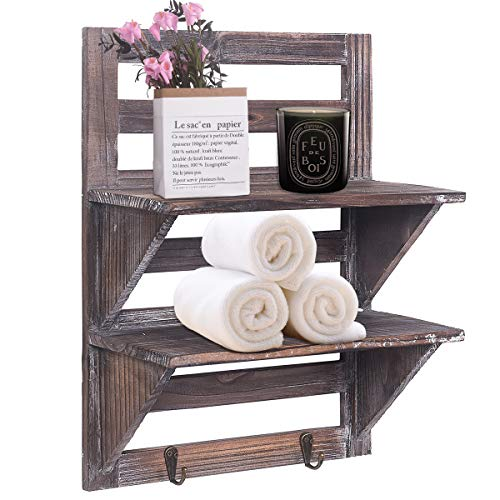 Rose Home Fashion RHF Rustic Shelves Bathroom Shelf Over Toilet Wood Wall Mounted Shelves for Bathroom Floating Shelves Wall Shelves 2 Hooks 2-Tier,Wall Hanging Shelf Organiser Rack (Brown)