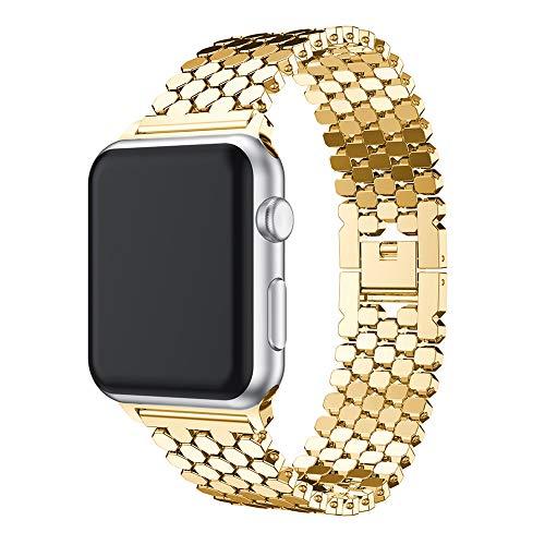 QINJIE Correa Compatible con Apple Watch Serie 6/5/4/3/2/1 Correa de Repuesto de Correa de Acero Inoxidable, Correa de Reloj de liberación rápida Pulsera con Cierre de Metal,Oro,40mm
