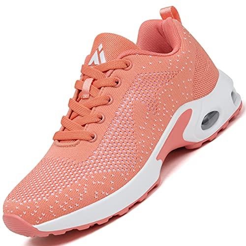 Mishansha Air Sportschuhe Damen Laufschuhe Dämpfung Straßenlaufschuhe Frauen Leichte Walkingschuhe rutschfest Sneaker Pink A, Gr.38 EU