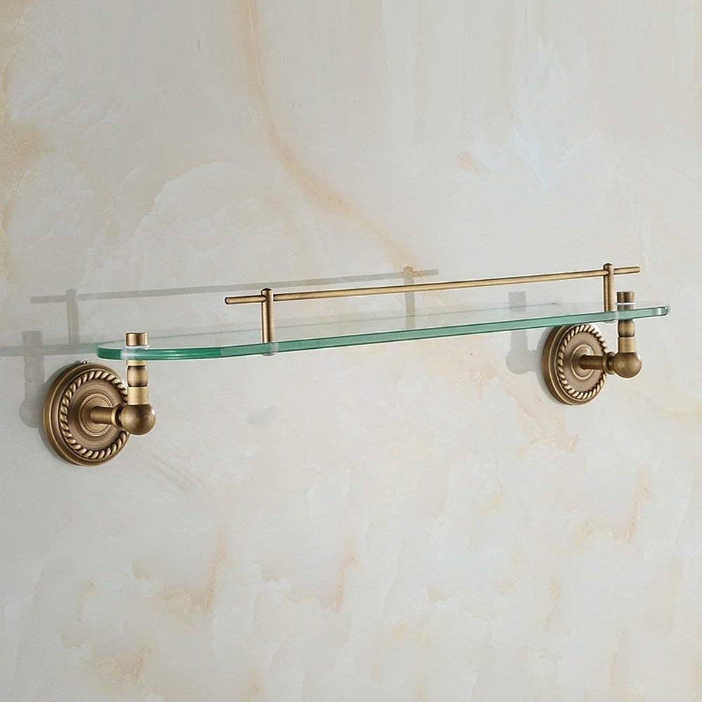 GFF Rack Single Dressing Table Bathroom Corner Shelf Bathroom Single Layer Tempered Glass Shelf (Size   52  16  13cm)