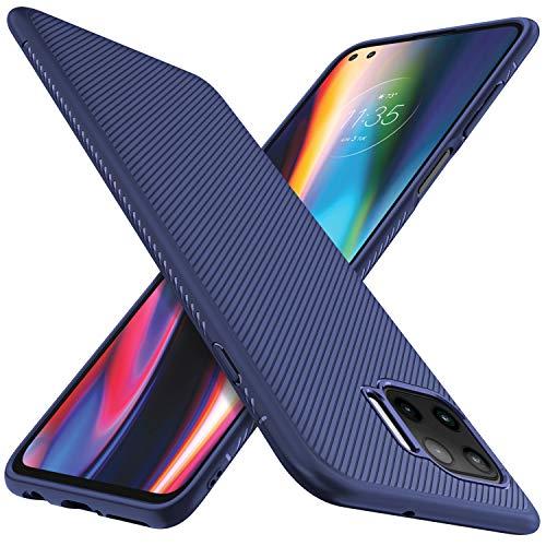 iBetter für Moto G 5G Plus Hülle, Stylisch Design Silikon Hülle Abdeckung Telefon Case Handyhülle Schutzhülle Shock Absorption Hülle passt für Moto G 5G Plus Smartphone,Blau