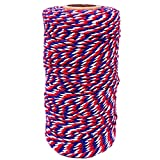 Cotton Twine Red Blue and White Baker String 2mm Thick 328 Feet Christmas Twine for Gift Wrapping DIY Crafts Home Party Decoration Gardening