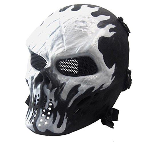 Zolimx Volles Gesicht Schädel Skelett Halloween Maske, Airsoft Paintball Taktisches Militär Halloween (Weiß)