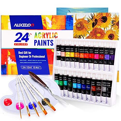 Acrylfarben-Set, 33 Stück Bastelfarben mit 24 Farben (12 ml), 2 Kunstplatten, 1 Schaber, 1 Palette, 5 Pinsel, reiche Pigmente, nicht verblassen, ungiftige Farben für Künstler, Hobby-Maler und Kinder.