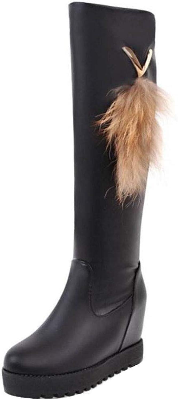 RizaBina Women Pull On Boots Knee High Boots Hidden Heels Boots