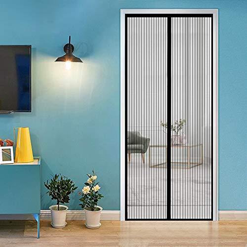 ERPENG Fliegennetz Vorhang 85x190cm Moskitonetz Magnetverschluss Fliegenvorhang Vorhang einfach zu montieren Ohne Bohren für Wohnzimmer Schiebetür Terrassentür, Schwarz