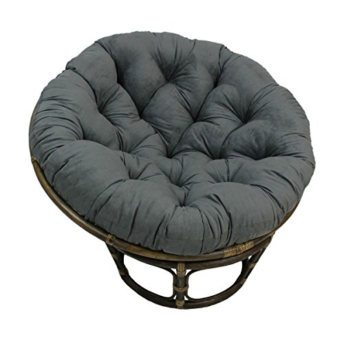 American Rattan Papasan Chair with Gray 100% Polyester Cushion - Adult Size