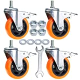 Stem Casters Aozel Heavy Duty Swivel Threaded Stem Caster Wheels with American Size 1/2''-13x1'' Thread Dual Locking Wheel with Brakes Pack of 4 (4 Inch)