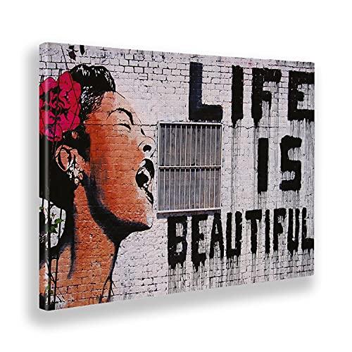 Giallo Bus - Cuadro - Prensa Sobre Tela Canvas - Banksy - Life Is Beautiful- 100 X 140 Cm