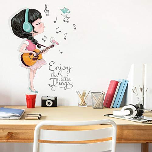 Kreatives Cartoon-Mädchen, Das Gitarren-Wandaufkleber Spielt Lustige Musik-Kunst-Abziehbilder Für Kinderzimmer Schlafzimmer-Wohnzimmer-Hauptdekor