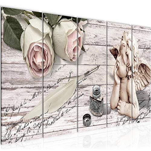 Bilder Engel Blumen Wandbild 150 x 60 cm Vlies - Leinwand Bild XXL Format Wandbilder Wohnzimmer Wohnung Deko Kunstdrucke Weiß 5 Teilig - MADE IN GERMANY - Fertig zum Aufhängen 005756a