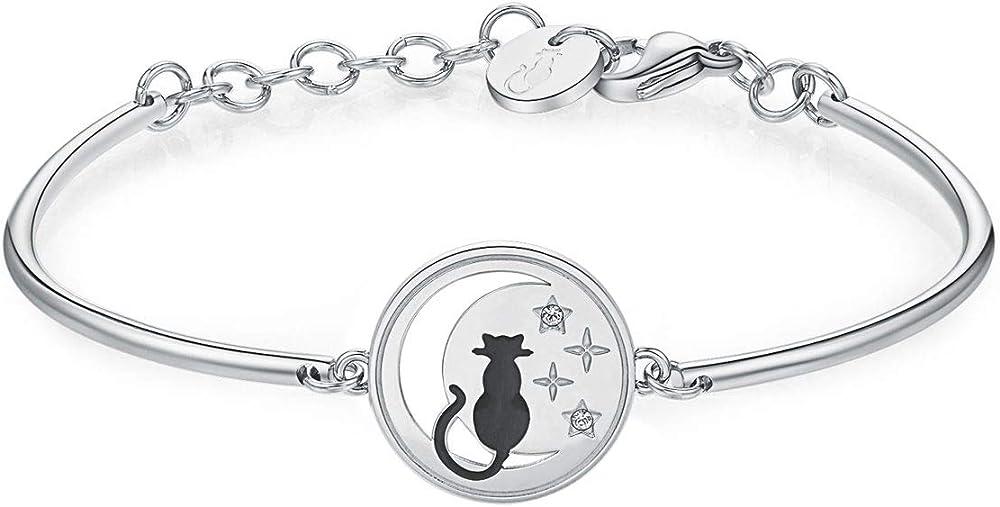 Brosway bracciale chakra per donna ,in acciaio con luna incisa e gatto. BKH286