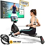 Sportstech RSX400 Rowing Machine - German Quality Brand -Video Events & Multiplayer App, Heart Rate Belt incl. rowing machine for your home, foldable with 8x magnetoresistance and ball bearing seat