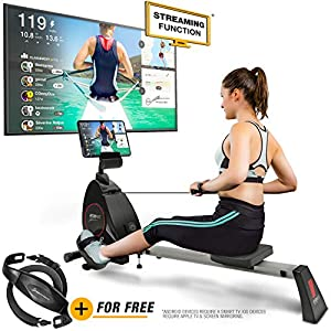 woman exercising on a rsx400 indoor rowing machine