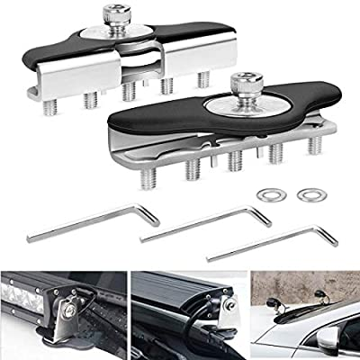 BLIAUTO Led Light Bar Mounting Brackets, Stainless Steel Clamp Holder For ATV UTV SUV Jeep Truck Installed No Need Drilling (2PCS Mounting Bracket)