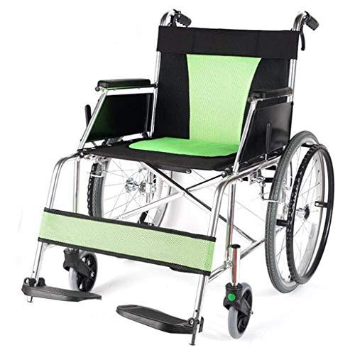 IG Silla de Ruedas Plegable, Ligero Y Portátil Plegable Volver Doble Pedal Del Freno de Pie Ajustable Senior/Minusválidos Vespa Carretilla