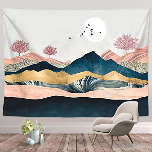 """Mountain Sunset Tapestry, Nature Forest Tree Landscape Tapestries, Wall Hanging for Bedroom Living Room Dorm(Mountain Sunset-51.2"""" X 59.1"""")"""