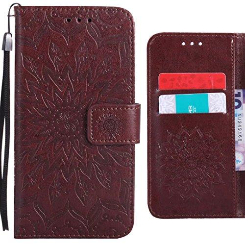 Ougger Handyhülle für LG Q6 (M700N M700A) Hülle, Blühende Blumen Tasche Leder Schutzhülle Schale Weich TPU Silikon Magnetisch-Stehen Flip Cover hülle Tasche LG Q6 mit Kartenslot (Braun)