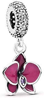 PANDORA Orchid Dangle Charm, Sterling Silver, Cubic Zirconia, One Size