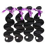 Alidoremi Malaysian Body Wave Hair 4 Pcs Human Hair Bundles Non Remy Hair Extention Natural Black (Length : 14 14 16 16)