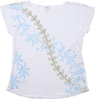 (ムームーママ) MuuMuuMama 体型カバー トップス ゆったり ルースフィット Tシャツ ティアレタヒチ柄