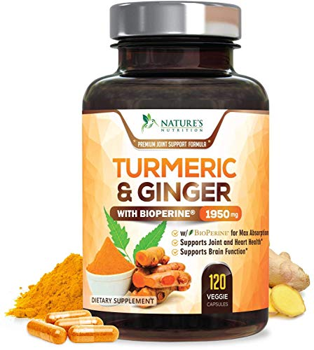 Turmeric Curcumin with BioPerine & Ginger 95% Curcuminoids 1950mg - Black Pepper for Absorption, Made in USA, Natural Immune Support, Turmeric Ginger Supplement by Natures Nutrition - 120 Capsules