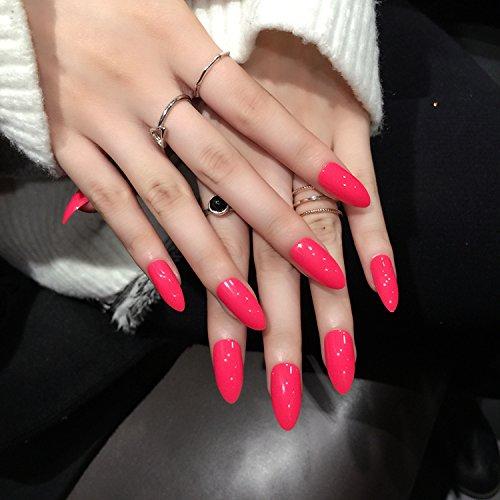Lange gefälschte Nagelstilett Falsche Nagelspitzen Künstliche Nägel Voller Deckung Rosenrot