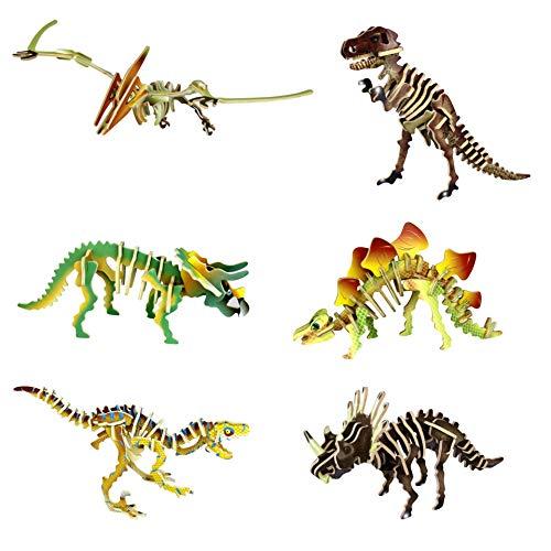 GuDoQi Puzzle 3D Madera, Maqueta de Dinosaurios para Montar, Rompecabezas Madera 3D para Construir, Kit de Manualidades DIY, Juguete de Montaje para Niños y Niñas, Juego de 6