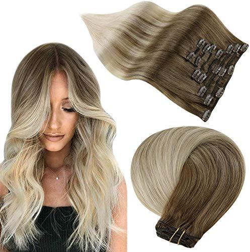 Easyouth Clip in Extensions Cheveux Naturel Blond Couleur Frêne Brun Atténuant à Platinum Blonde Réel Hair Extension a Clip Cheveux Naturel 16 pouces 80g 7Pcs