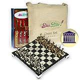 YMXVE tableros de ajedrez Juego de ajedrez Juegos de Mesa Regalo de Lujo Premium Antiguo Griego Griego Cromo Metal Oro Plata Pegasus Figura mármol ajedrez decoración Juegos de ajedrez para Adultos