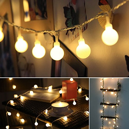ALOVECO LED String Lights, 14.8ft 40 LED Waterproof Ball Lights, 8 Lighting Modes, Battery Powered Starry Fairy String Lights for Bedroom, Garden, Christmas Tree, Wedding, Party(Warm Color)