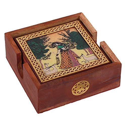 Zap Impex Rajasthani Sheesham hölzerner Tee-Untersetzer Edelsteinen malen mit 6 Untersetzer-Satz von 6
