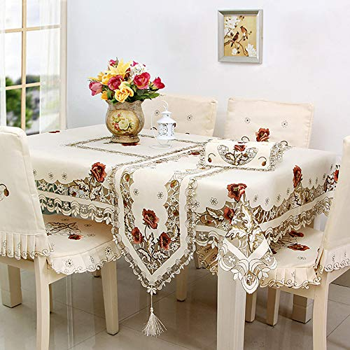 Flower Embroidered Lace Cream Tablecloth Luxury Cutwork Table Cloths Cover Rectangular