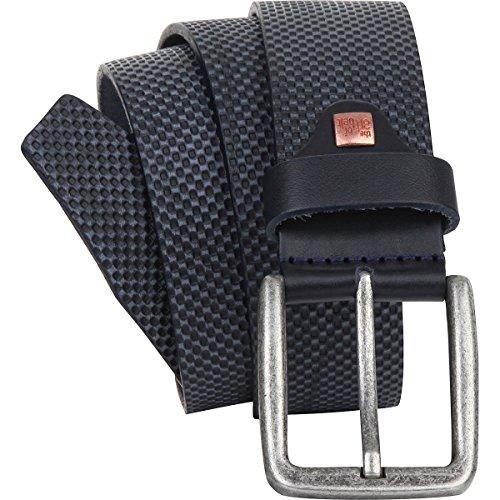 Para hombre cinturón de piel/Hombre Cinturón de piel plena flor para el arte de cinturón unisex, Azul Marino