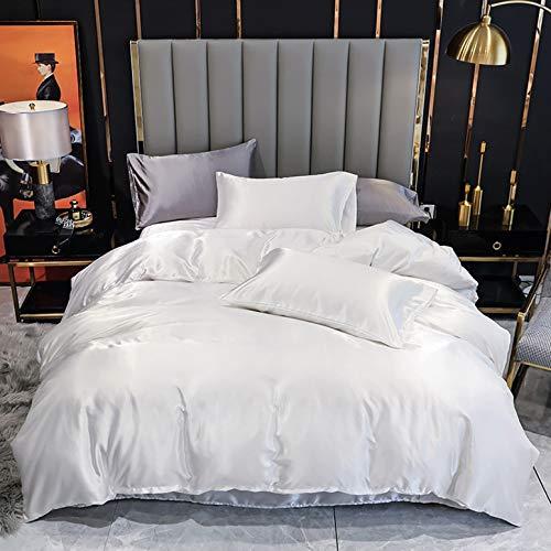 Conjuntos de lino de cama matrimonial satinada, cubierta de seda satinada de seda con almohadas con pillowcasas - 3 piezas, cómodas, agradables y transpirables clima ideal para dormir,D,200*200cm