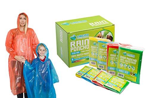 Lingito Rain Ponchos Family Pack