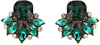 Art Deco Antique Vintage Retro Style Green Emerald Rhinestone Bridal Bridesmaid Wedding Prom Cluster Earrings