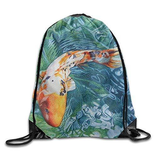 Etryrt Prämie Turnbeutel,Sporttaschen, Japanese Carp Water Vortex Painting Unisex Home Rucksack Shoulder Bag Sport Drawstring Backpack Bag