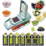 Trituradora de verduras, 12 en 1, la tercera generación de trituración de alimentos (rebanadas) máquina para cortar verduras, queso, frutas, apio, patatas, zanahorias, ensaladas de frutas, Azul, 14