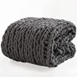 Chunky Knit Blanket Cozy Chenille Throws - 51'x63' -Warm Soft Handmade Knitted Throw Blankets for Couch,Bed,Sofa,Chair,Boho Home Decor (Dark Grey)