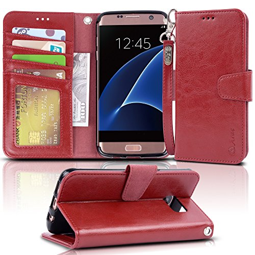 Arae Case Compatible for Samsung Galaxy s7 Edge, [Wrist Strap] Flip Folio [Kickstand Feature] PU Leather Wallet case with ID&Credit Card Pockets (Wine red)