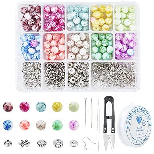 SUNNYCLUE 1 caja de 350 cuentas de vidrio para joyería kit, 10 colores 8 mm perlas de vidrio pintado en aerosol 5 estilos aleación espaciador cuentas e hilo de cristal y tijeras para hacer joyas