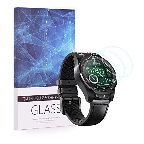 BECEMURU Ticwatch Pro Displayschutzfolie 9H Full Deckung Bildschirm-Displayschutz aus Sicherheitsglas für Ticwatch Pro/Ticwatch Pro 2020 Smartwatch (3 Pack)