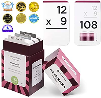 Think Tank Scholar 173 Multiplication Flash Cards | All Facts 0-12 Color Coded | Best for Kids in 3rd, 4th 5th & 6th Grade by Think Tank Scholar