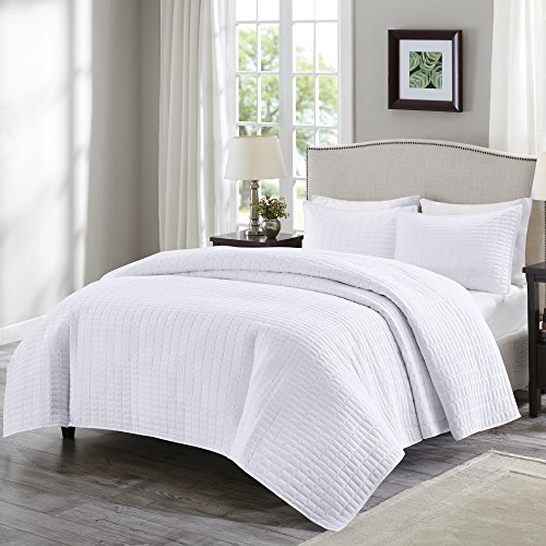 Comfort Spaces Kienna Quilt Set-Luxury Double Sided Stitching Design All Season, Lightweight, Coverlet Bedspread Bedding, Matching Shams, King/Cal King(104'x90'), White