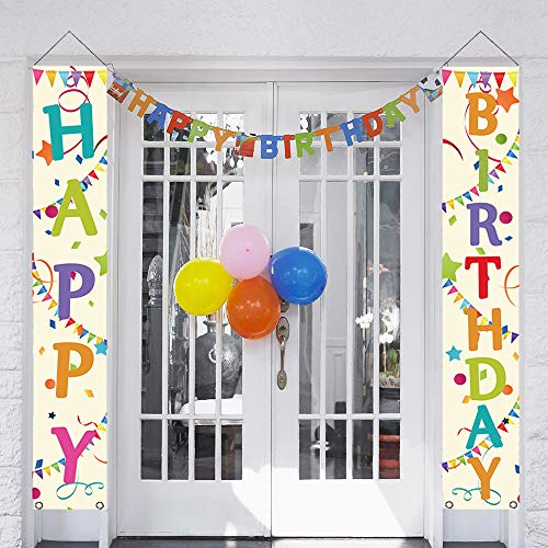 partyGO Colorful Happy Birthday Porch Sign, Banner Decorations for Colorful Birthday Party Supplies